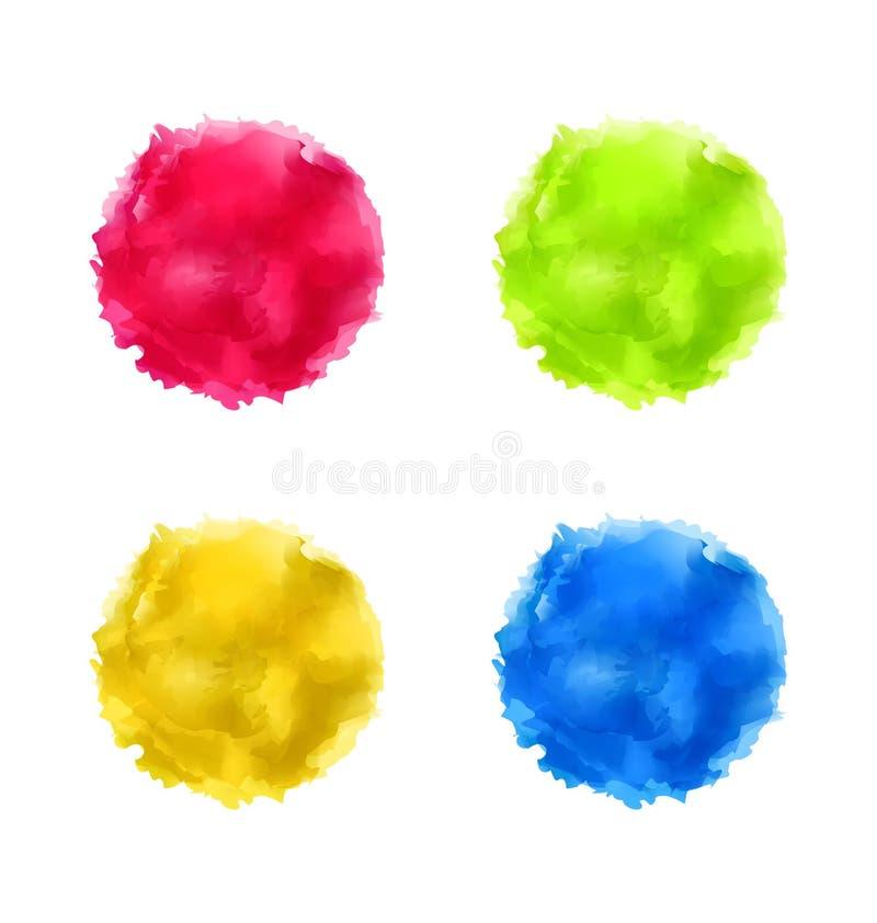 Ustawia abstrakcjonistycznego akwareli pluśnięcie, kolorowi farba okręgi royalty ilustracja