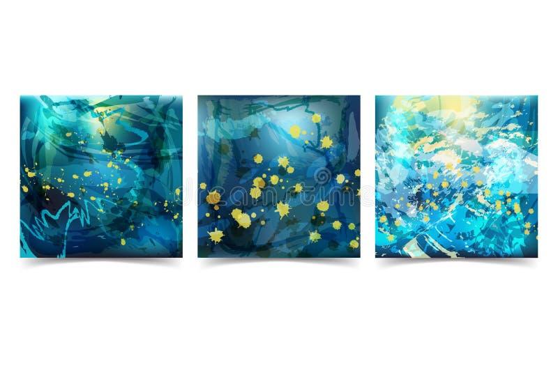 Ustawia Abstrakcjonistycznego tła Chaotycznych Brushstrokes w Błękitnych brzmieniach royalty ilustracja