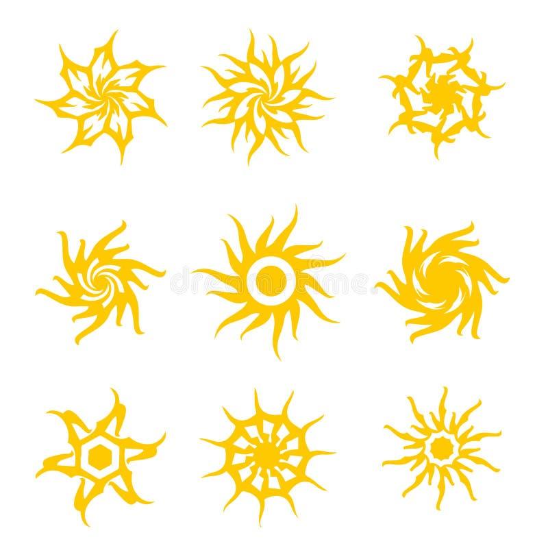 Ustawia abstrakcjonistycznych round słońce kwiatów lata ikony plemiennego wektorowego odosobnionego projekt ilustracja wektor