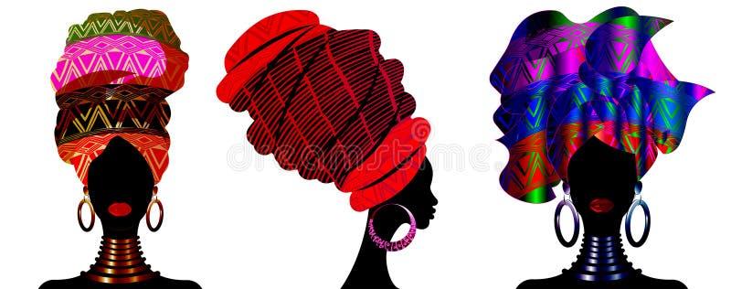 Ustawia Afrykańskiego szalika, portreta Afro kobiety w pasiastym turbanie Plemienna opakunek moda, Ankara, Kente, kitenge, Afryka ilustracja wektor