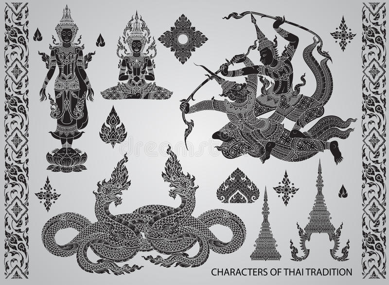 Ustawia akcja charaktery, tajlandzki tradycja styl royalty ilustracja