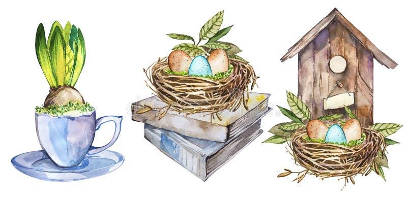 Ustawia akwareli birdhouse z wiosna kwiatami, jajka, ptaka gniazdeczko, kubka kwiat Wielkanocny projekt ilustracja wektor