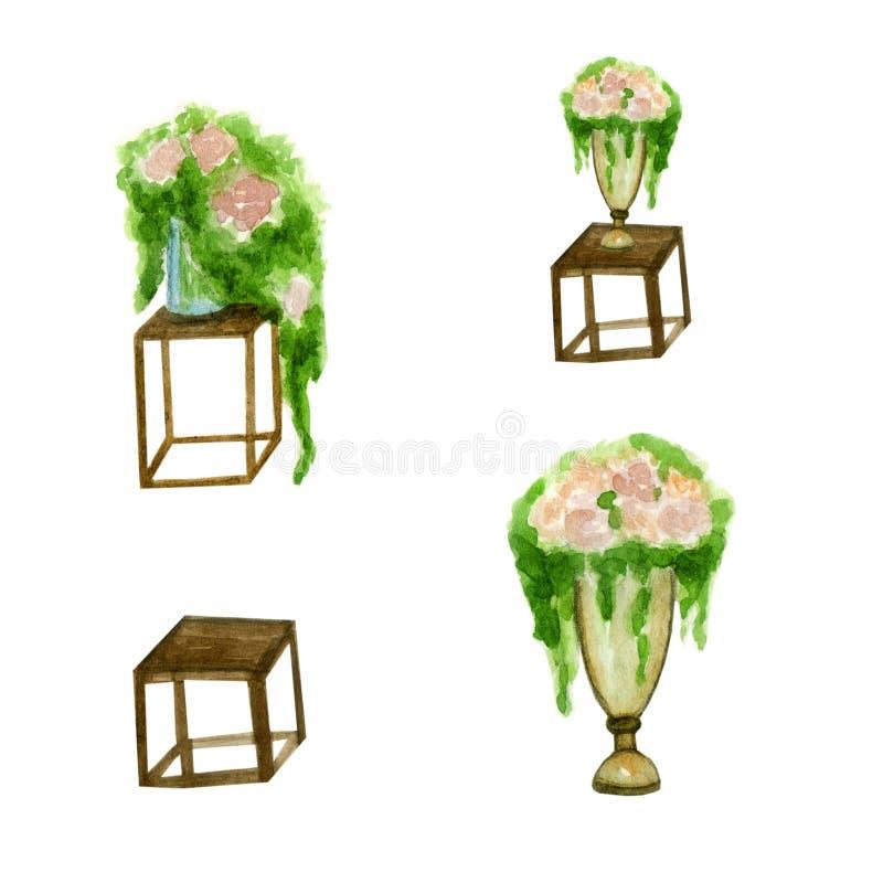 Ustawia akwareli flowerpots ilustracja wektor