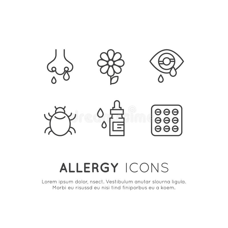 Ustawia Allergens, choroba, Cierpiący, sezonu lub wiosny, alergia i nietolerancyjność ilustracja wektor
