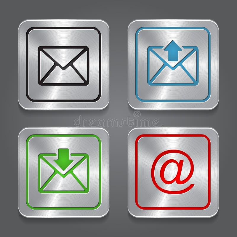 Ustawia app ikony, kruszcowy email, koperta guziki. royalty ilustracja