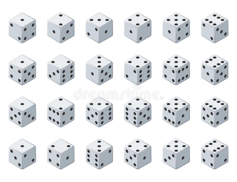 Ustawia 24 autentycznej ikony kostka do gry w wszystkie ewentualnych zwrotach Dwadzieścia cztery wariant straty kostka do gry Bia royalty ilustracja