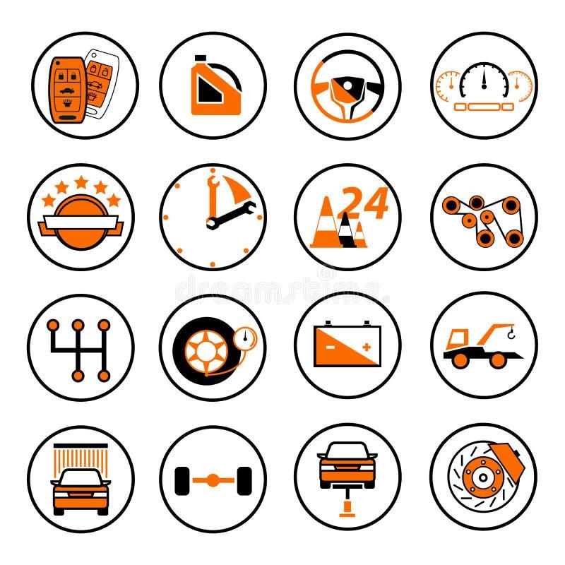 Ustawia auto logo, odznaka, emblemat lub logotyp dla mechanika, samochód ponowny royalty ilustracja