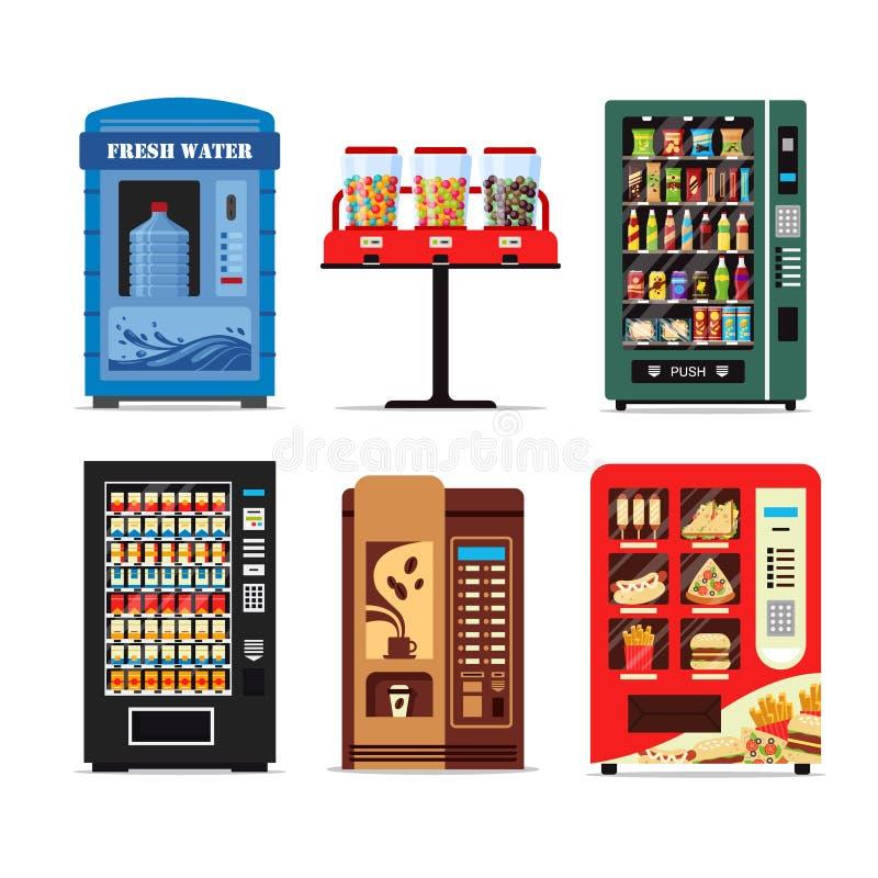 Ustawia automaty produkty pełno, aptekarki inkasowe z wodnych cukierków papierosów przekąsek kawowym gorącym jedzeniem odizolowyw royalty ilustracja