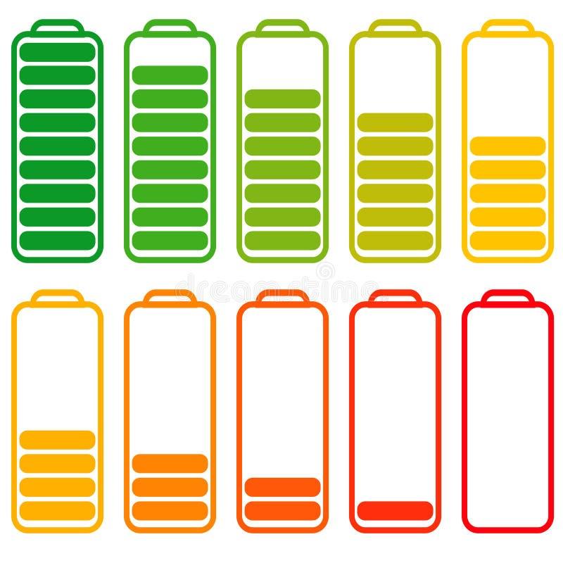 Ustawia baterie z różnym równym ładunkiem, wektorowa energia, accumulator z ubywaniem równym energetyczny ładować ilustracji