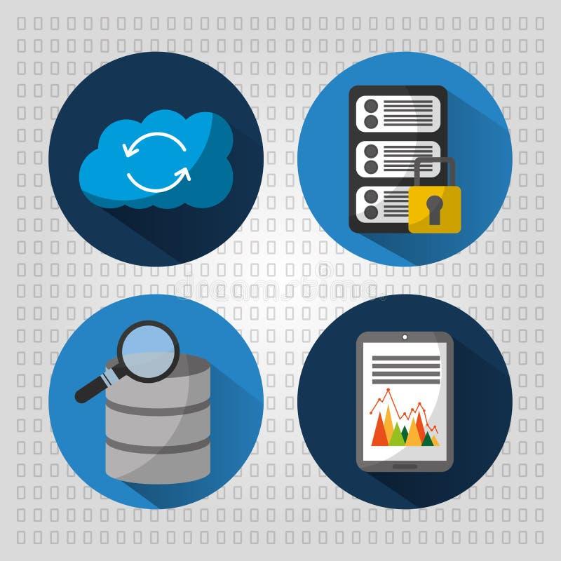 Ustawia baza danych serweru chmury ochrony statystyki royalty ilustracja