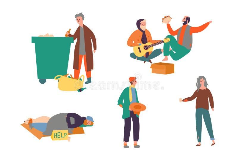 Ustawia Bezdomnej biedny człowiek kobiety pieniądze Proszałną ulicę ilustracji
