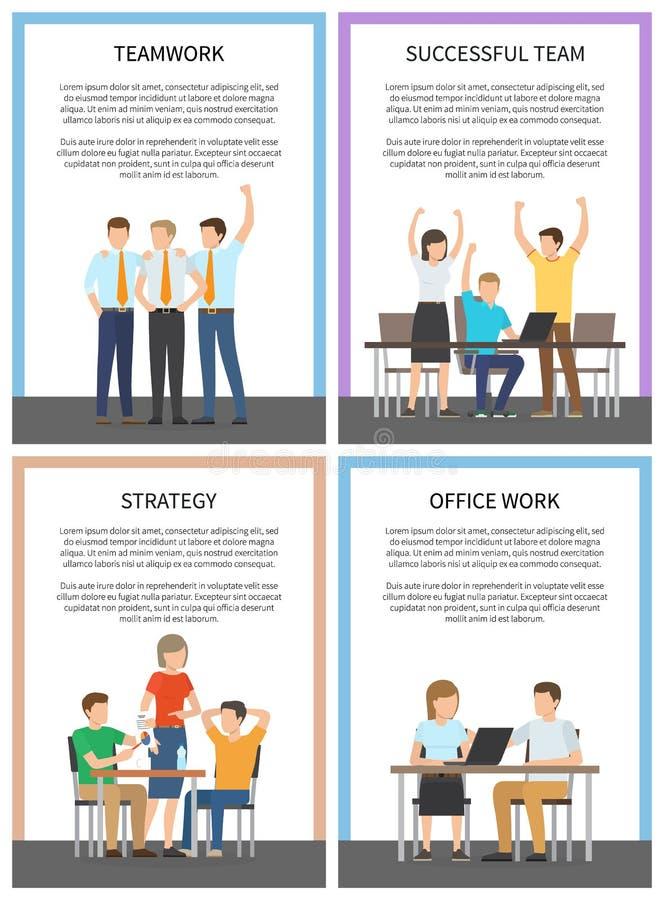 Ustawia biuro drużyny pracy strategii Pomyślne karty ilustracja wektor