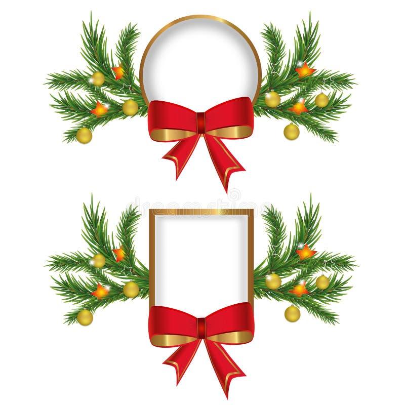 Ustawia boże narodzenia lub nowy rok złote ramy z czerwonym łękiem dekorującym rozgałęziają się choinki z piłkami i gwiazdami wek royalty ilustracja