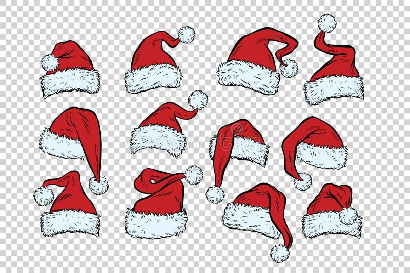 Ustawia Bożenarodzeniowych kapelusze Święty Mikołaj royalty ilustracja