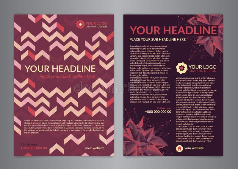 Ustawia A5, A4 broszurki ulotki projekta układu Biznesowy szablon z trójboka wzorem Ulotki okładkowa prezentacja, Nowożytni tła royalty ilustracja