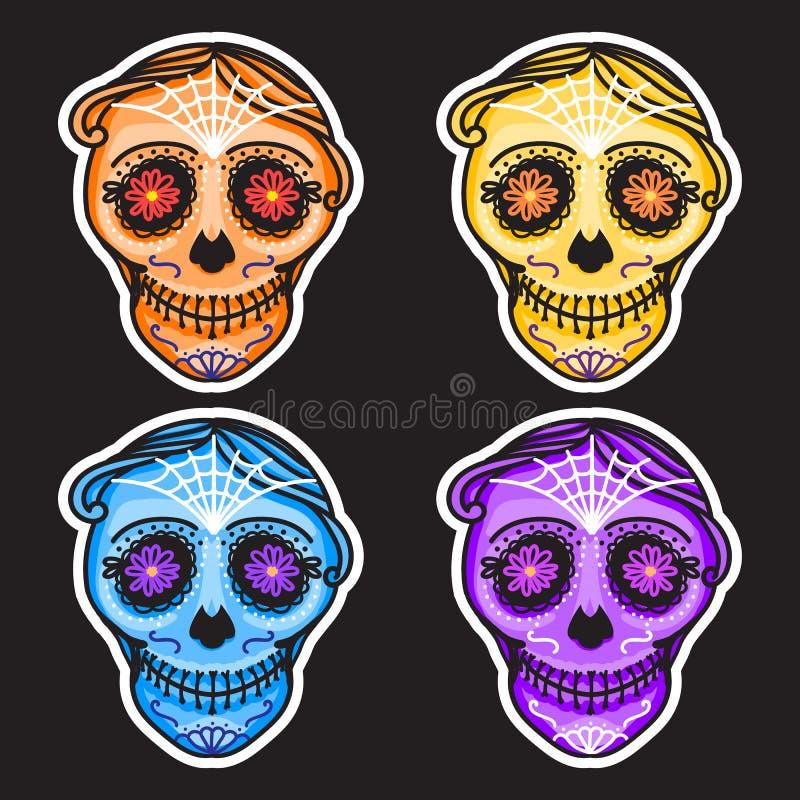 Ustawia Calavera znaka Dia De Los Muertos Meksykański dzień nieboszczyk Wektorowej ręki mężczyzna rysunkowy ilustracyjny majcher  ilustracja wektor