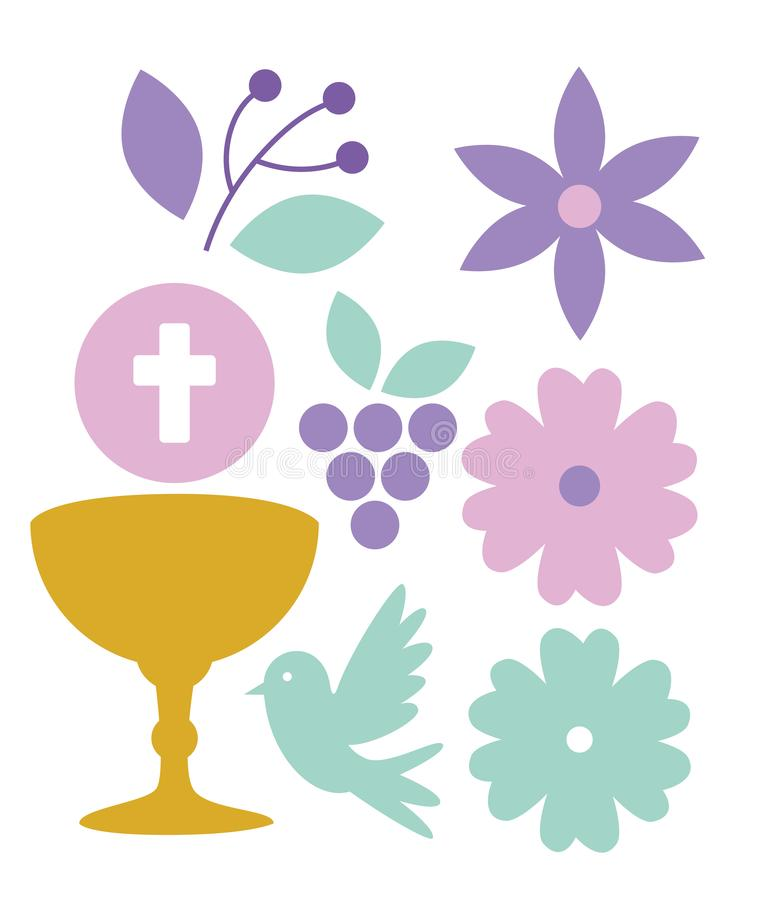Ustawia chalice z świętym gospodarzem mój pierwszy communion ilustracji