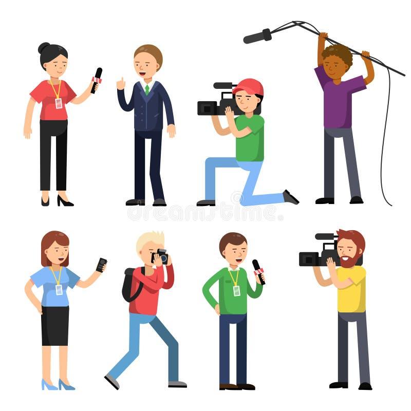 Ustawia charaktery transmitowanie, reportaż i wywiad, Operator, fotograf i przepytujący, ilustracji