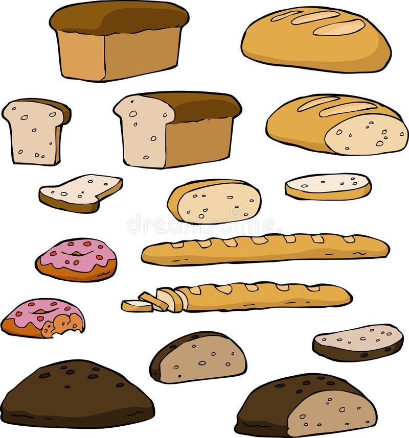 Ustawia chleb ilustracja wektor