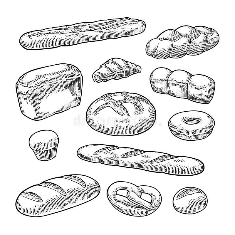 Ustawia chleb Wektorowy czarny rocznika rytownictwo ilustracja wektor