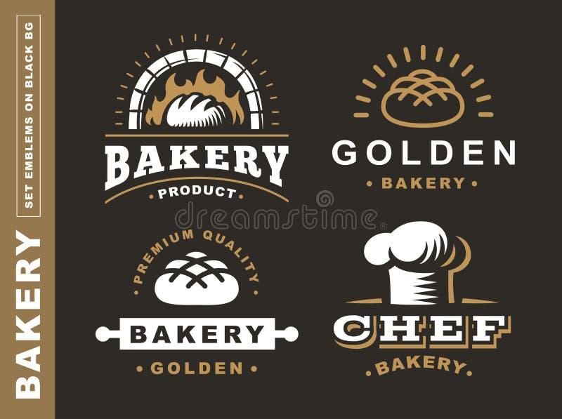 Ustawia chlebowego loga - wektorowa ilustracja Piekarnia emblemat na czarnym tle ilustracja wektor