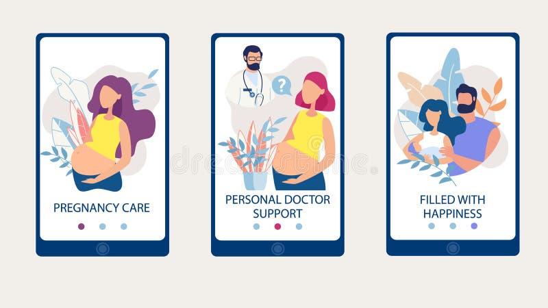 Ustawia Ciążową opiekę, Doktorski poparcie, Wypełniający Szczęśliwy royalty ilustracja