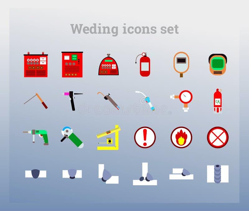 Ustawia colour ikonę (spawać) ilustracja wektor