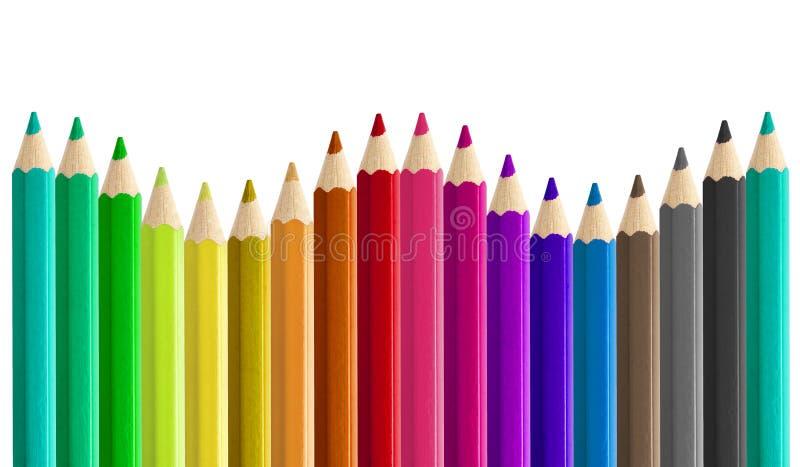 Ustawia coloured ołówki popiera kogoś boczną bezszwową tworzy tęczy fala odizolowywającą - obok - zdjęcia royalty free