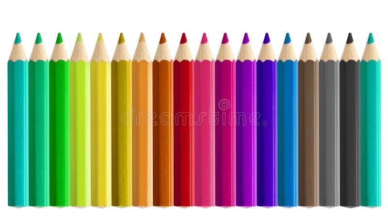 Ustawia coloured ołówki popiera kogoś boczny bezszwowy odosobnionego - obok - fotografia royalty free