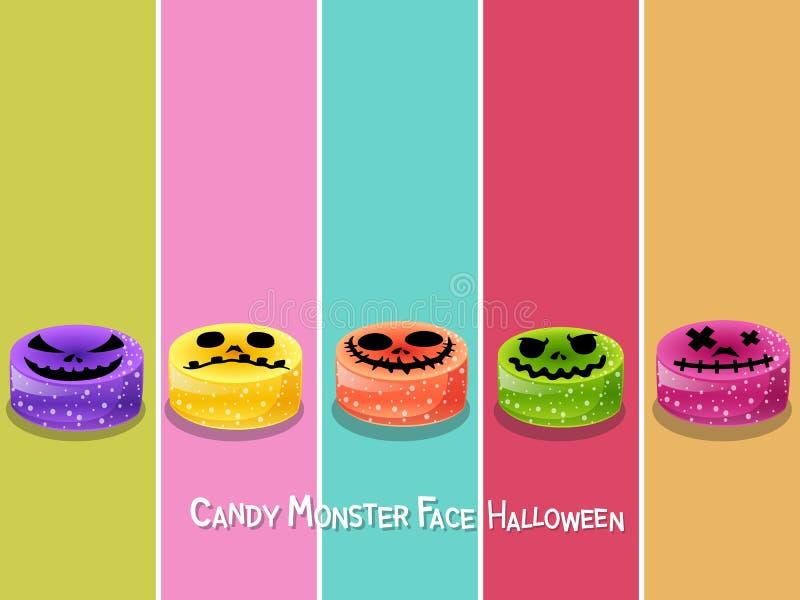 Ustawia cukierku potwora twarzy Halloween ikonę na koloru tle Szczęśliwy royalty ilustracja