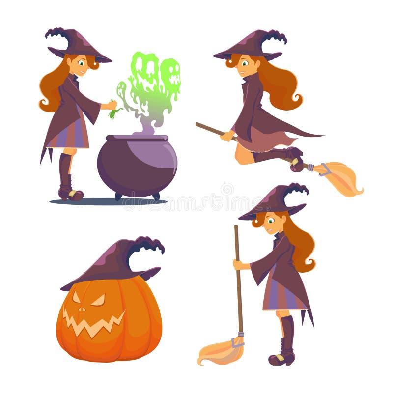 Ustawia czarownicy dla Halloween ilustracji