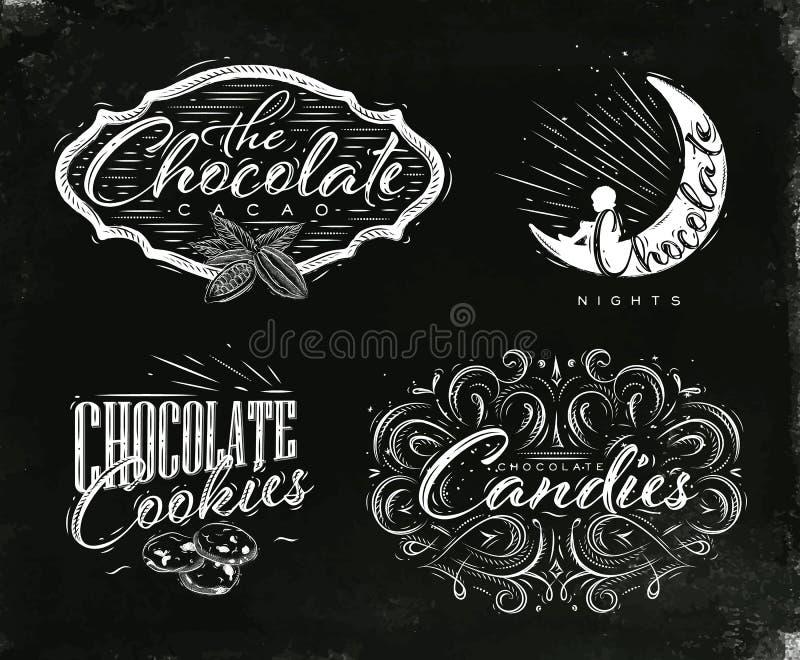 Ustawia czekoladowego etykietki czerń royalty ilustracja