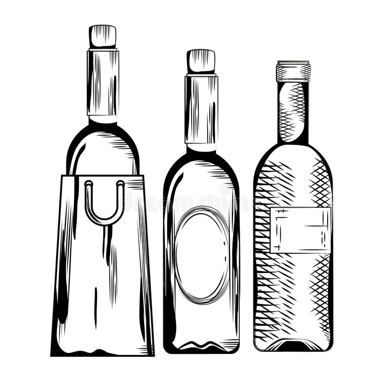 Ustawia czerwone wino butelki royalty ilustracja