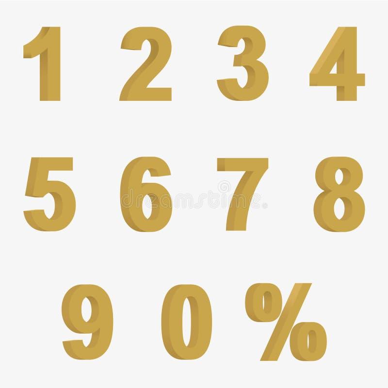Ustawia 3D postacie złoty kolor i znak procent royalty ilustracja