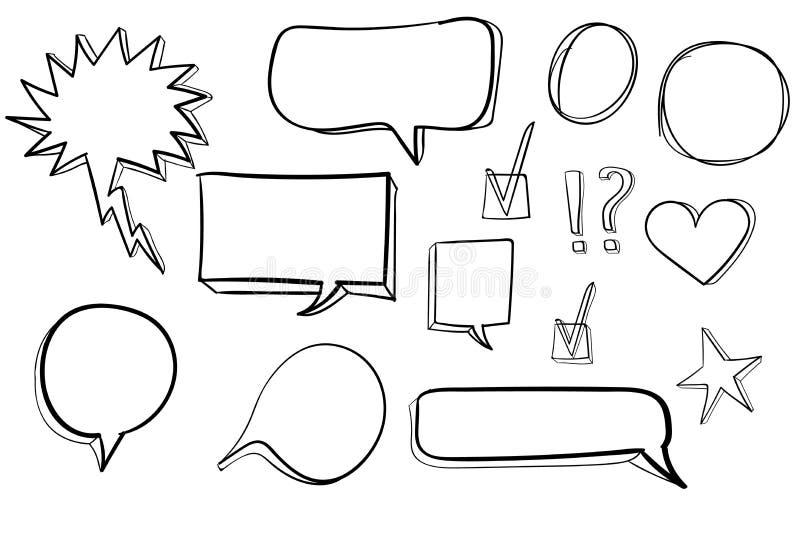 Ustawia 3d ręki rysować ikony: czek ocena, gwiazda, serce, mowa gulgocze wektor czerń ilustracja wektor