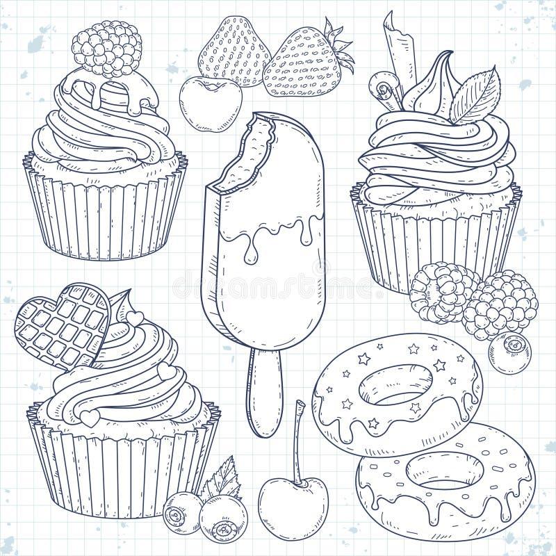 Ustawia deser, babeczki, torty, pączki i jagody, royalty ilustracja