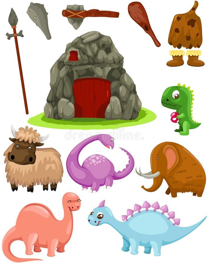 Ustawia dinosaury i caveman bronie ilustracja wektor