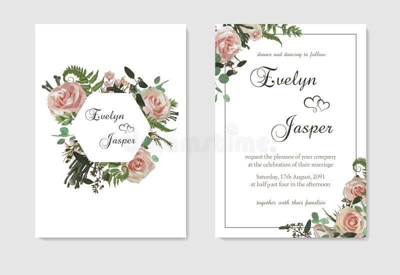 Ustawia dla ślubnego zaproszenia, kartka z pozdrowieniami, save data, sztandar Kwiaty, liście, boxwood, brunia i eukaliptus, menc ilustracja wektor