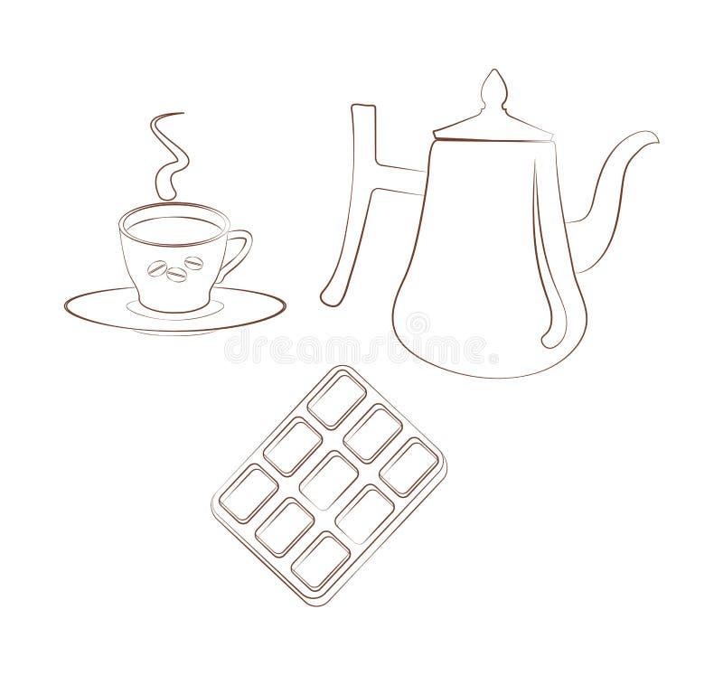 Ustawia dla breakfest filiżanka kawy z spodeczkiem, kawowym garnkiem i czekoladą na białym tle, Konturowy emblemat ilustracja wektor