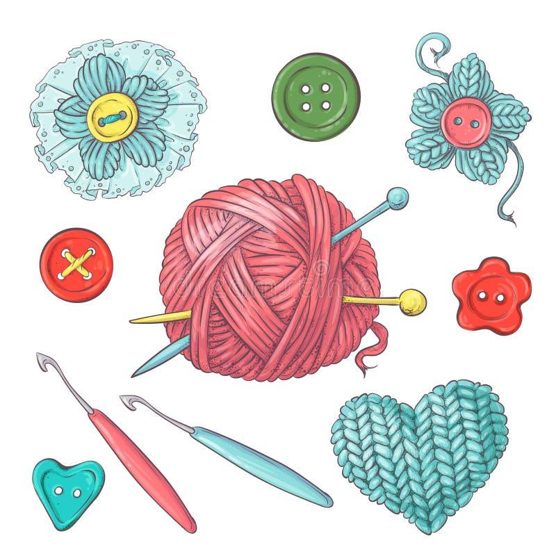 Ustawia dla handmade piłki przędza i akcesoria dla szydełkować i dziać ilustracji