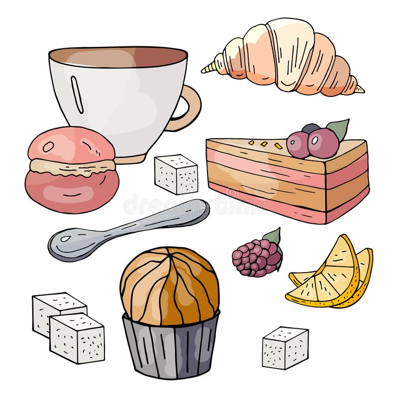 Ustawia dla herbacianego przyjęcia na białym tle royalty ilustracja