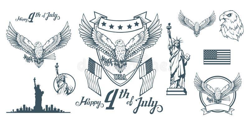 Ustawia dla projekta Ameryka ` s dzień niepodległości Tradycyjni symbole Ameryka Łysego orła logo szczęśliwa dzień niezależność ilustracja wektor