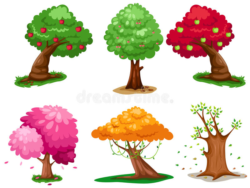 ustawia drzewa royalty ilustracja