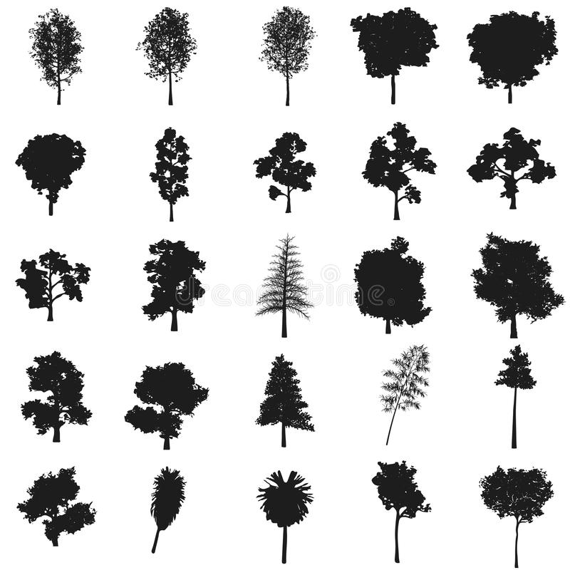 Ustawia drzewa ilustracyjnych wektor Czarna ikona na białym tle royalty ilustracja