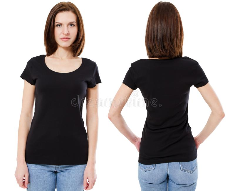 Ustawia dziewczyny w pustym czarnym tshirt mockup projekcie dla druku, pojęcie szablonu młodej kobiety w i obrazy royalty free