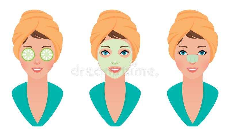 Ustawia dziewczyny z gliny maską na jej twarzy z maską ogórek i czyści pores pasek royalty ilustracja