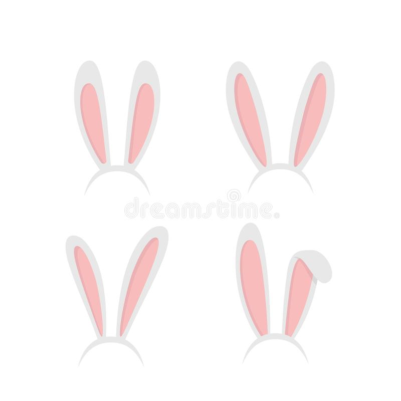 Ustawia Easter królika, Easter królika ucho Wielkanocne maski z królików ucho odizolowywającymi na białym tle - akcyjny wektor ilustracja wektor