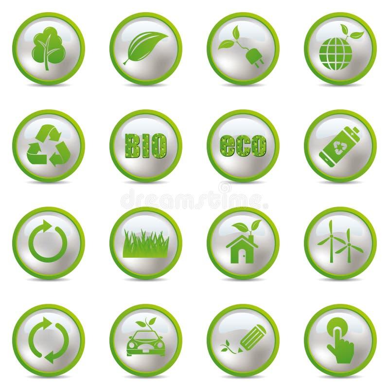 Download Ustawiać eco ikony ilustracja wektor. Obraz złożonej z organicznie - 19065109