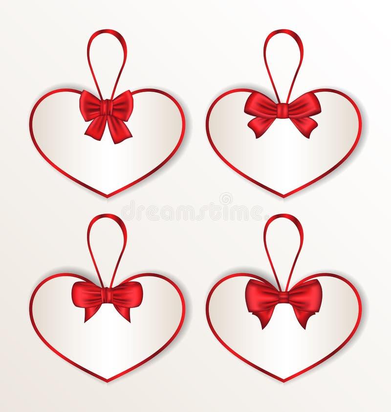 Ustawia elegancj kart serce kształtującego z jedwabniczymi łękami dla walentynki ilustracja wektor