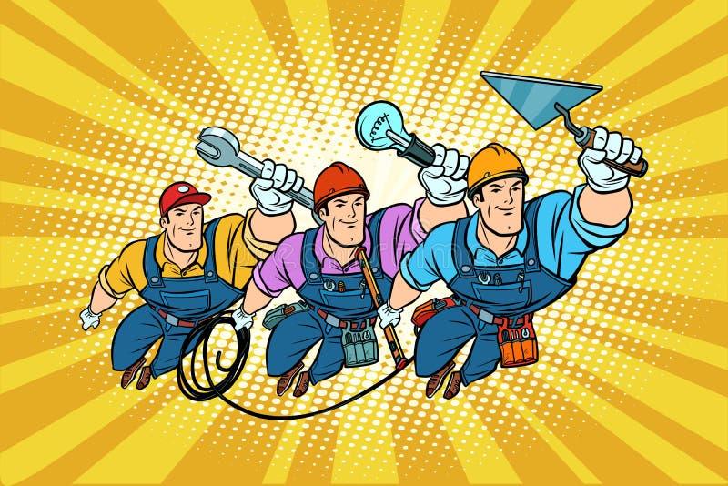 Ustawia elektryka naprawiacza i budowniczego profesjonalistów royalty ilustracja